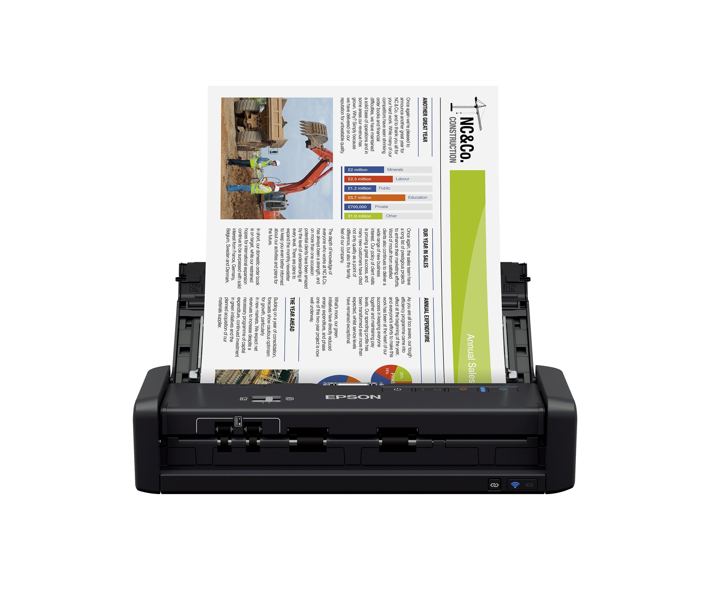 Epson Workforce ES-300W Wireless Color Portable Document Scanner with ADF for PC and Mac, Sheet-fed and Duplex Scanning by Epson