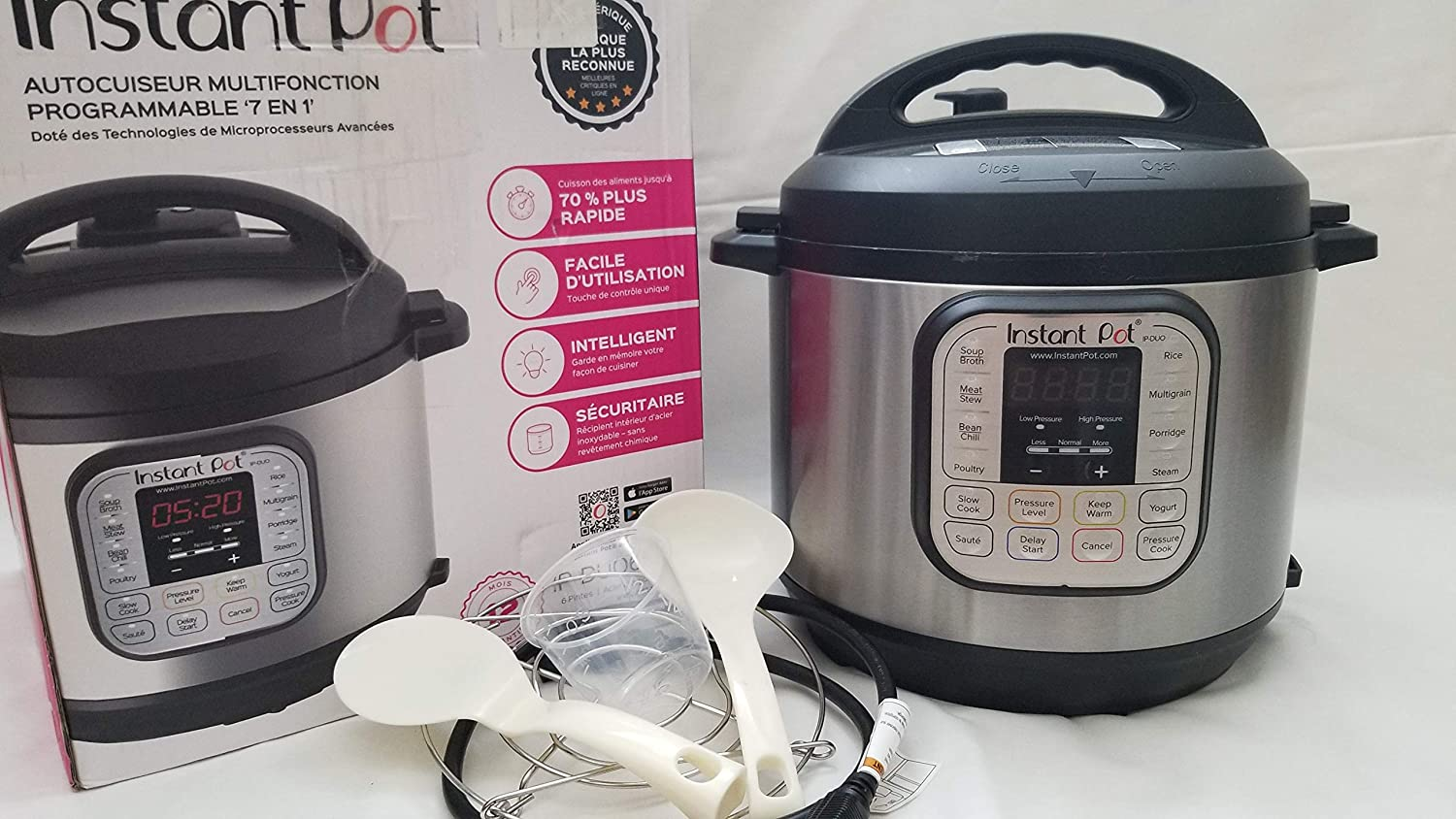 Instant Pot IP-DUO60 7-in-1 Programmable Pressure Cooker, 6Qt/1000W, Stainless Steel Cooking Pot and Exterior, Latest 3rd Generation Technology (3, DESIGN 1)