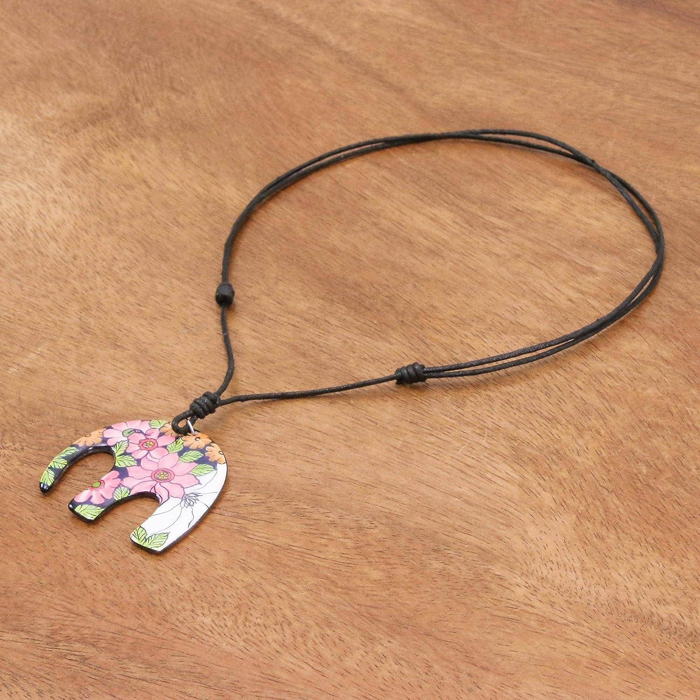 NOVICA No Stone Pendant Necklace Garden Elephant