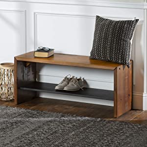 WE Furniture AZ42ALPAM Rustic Solid Wood Entryway Dining Bench, 42 Inch, Amber