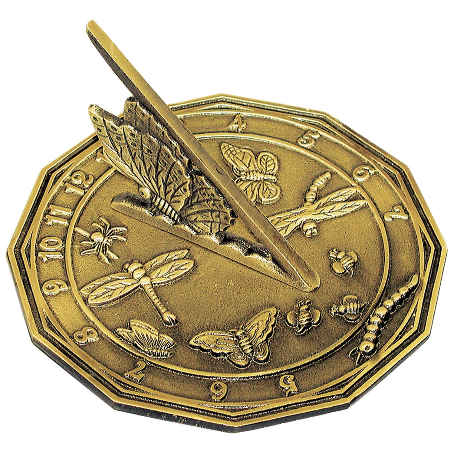 Rome 2318 Butterfly Sundial, Solid Antique Brass, 8.5-Inch Diameter