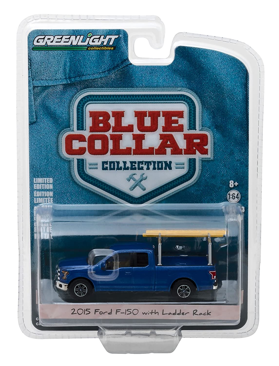 2015 Ford F 150 Blue Pickup Truck with Ladder Rack Blue Collar Collection Series 3 1 64 Diecast Model Car by Greenlight 35080 E