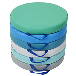 SoftScape 15 inch Round Floor Cushions with Handles; Flexible Seating for in-Home Distance Learning, Daycare, Preschool, Classroom; 2 inch Thick Deluxe Foam (6-Piece) - Contemporary