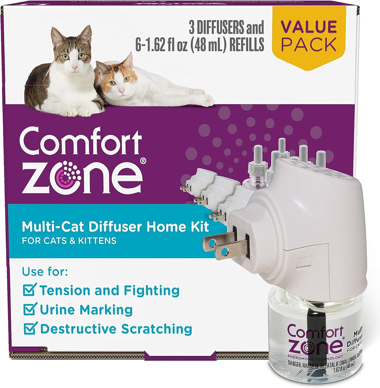 Comfort Zone MultiCat Calming Diffuser Kit, Cat Pheromone 3 Diffusers and 6 Refills-48ml, New Formula : Pet Supplies