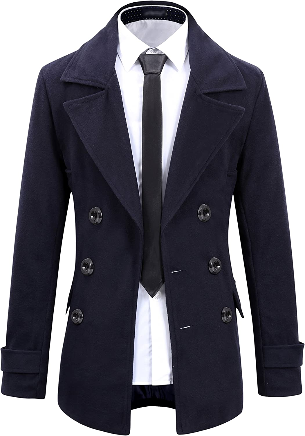 Benibos Mens Wool Slim Double Breasted Half Trench Coat