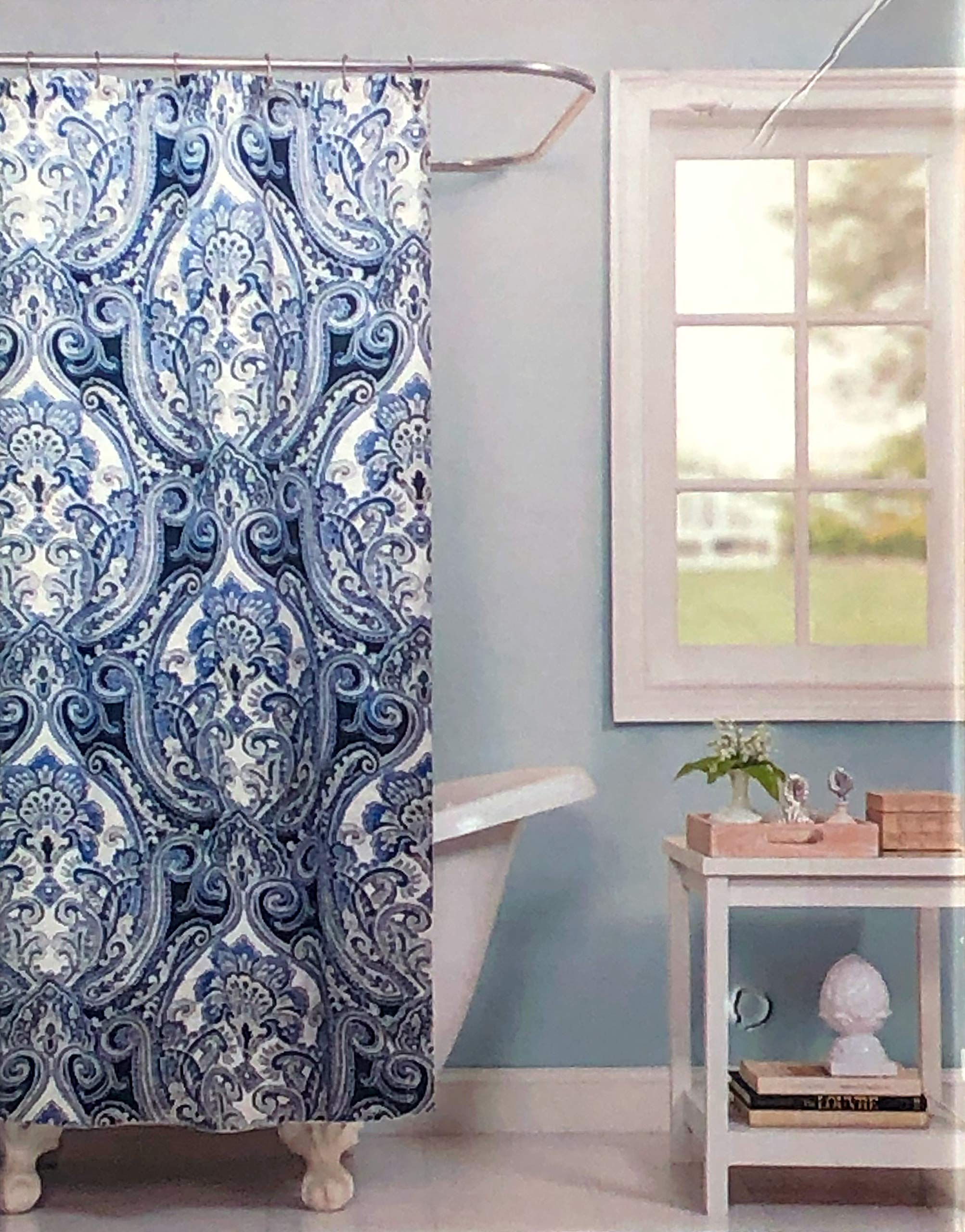Raymond Waites Fabric Shower Curtain Damask Medallion Pattern in Shades of Blue and Gray on Cream/Off-White - Tamarind Navy