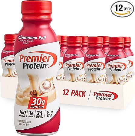 Premier Protein Shake, 30g Protein, 1g Sugar,24 Vitamins&Minerals Nutrients to Support Immune Health, Cinnamon Roll,11.5 fl oz - Pack of 12