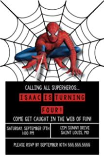 Birthday Invitations - Super Hero Party - Spiderman - Custom Birthday Invitations