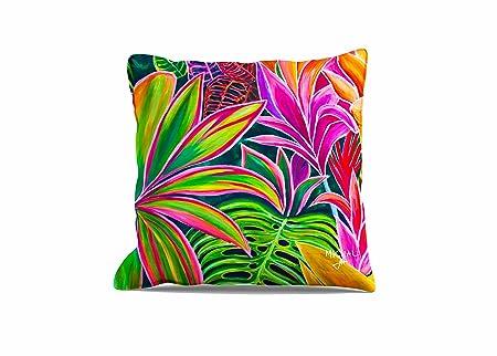 Throw Pillow Cover 20×20 – Tropical Hawaii – Open Heart Flowers – Kauai, Island home decor art by Michal