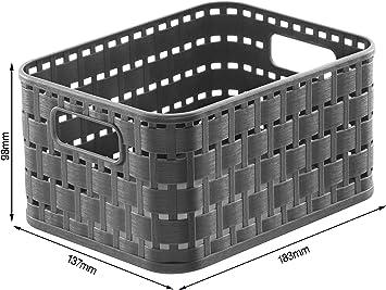 Rotho Country, Cesta de almacenamiento de 2l en aspecto de ratán, Plástico PP sin BPA, antracita, A6, 2l 18.3 x 13.7 x 9.8 cm: Amazon.es: Hogar