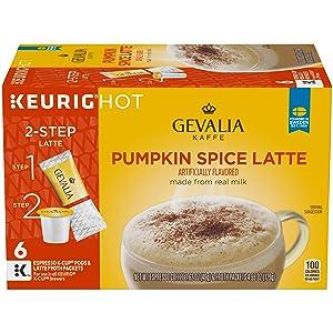 Gevalia Pumpkin Spice Latte Espresso K-Cup Coffee Pods and Froth Packets (36 Pods and Froth Packets, 6 Packs of 6)