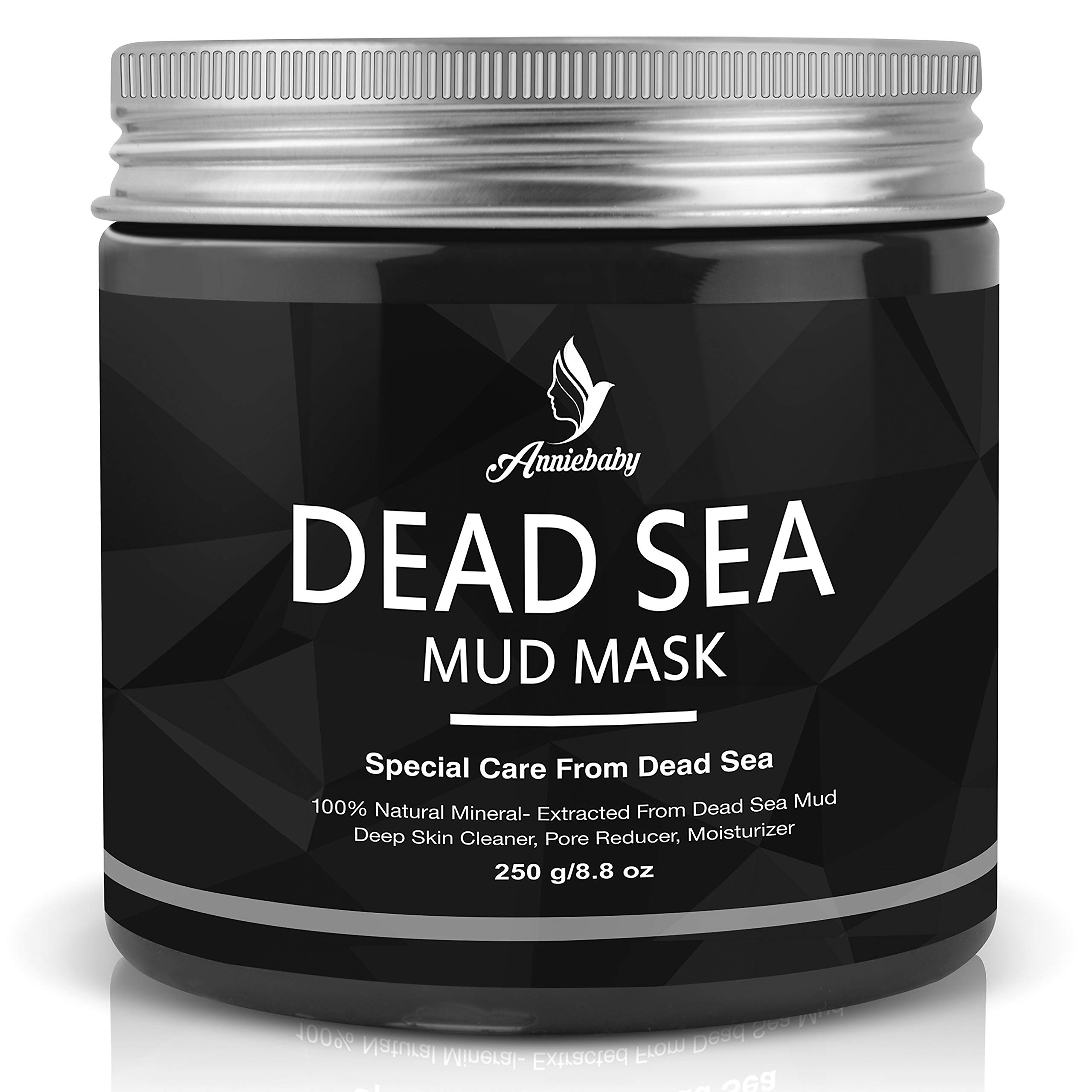Dead Sea Mud Facial Mask-Spa Exfoliating Mask for Face Body by Anniebaby-Skin Deep Clean moisturize Treatment, Reduces Acne Wrinkles, Blackhead Remover, Pore Minimizer for Men and Women