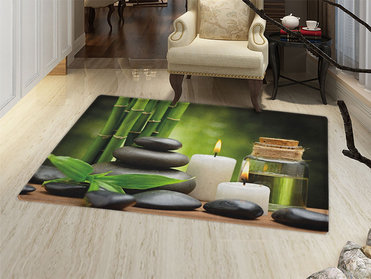 Spa Door Mat Small Rug Hot Massage Rocks Combined with Candles and Scents Landscape of Bamboo Print Bath Mat 3D Digital Printing Mat Green White and Black