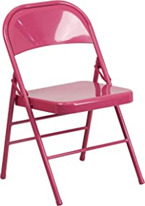 Flash Furniture HERCULES COLORBURST Series Shockingly Fuchsia Triple Braced & Double Hinged Metal Folding Chair