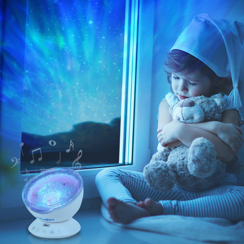Kid Night Light, Ohuhu Remote Control Night Light Upgraded Ocean Wave Light Projector 7 Colors with Built-in Speaker (Kid Night Light)