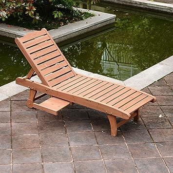Amazon.com: Patio madera maciza cama de día al aire libre ...