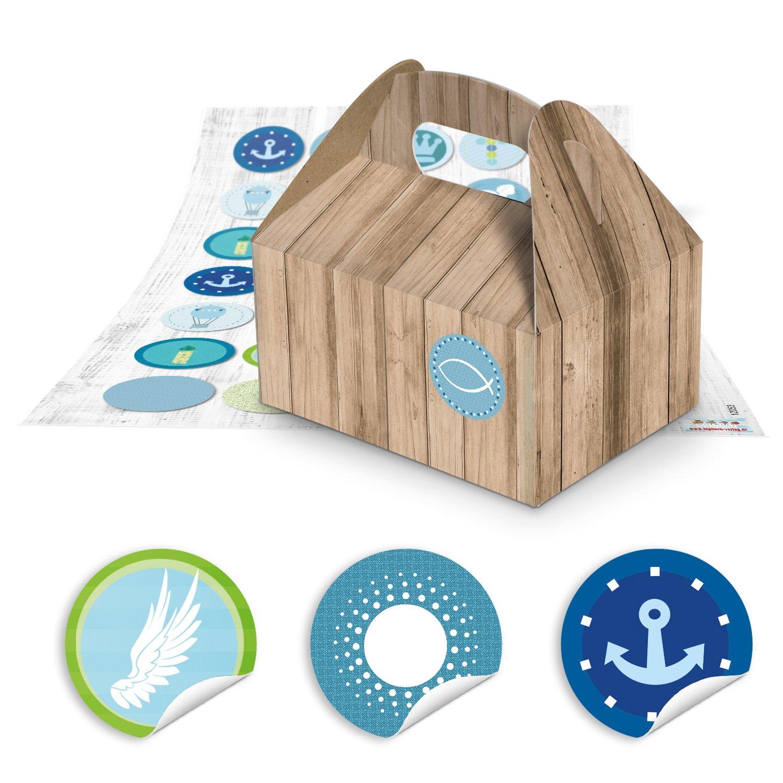 70 piccolo marrone scatole regalo Confezione in simil legno (9 x 12 x 6 cm senza manico) + 70 Maritime Blu Turchese Sticker per Comunione Battesimo. pesci, Navi, Croce (12053) per regalini Mitgebsel Jeanette Dietl