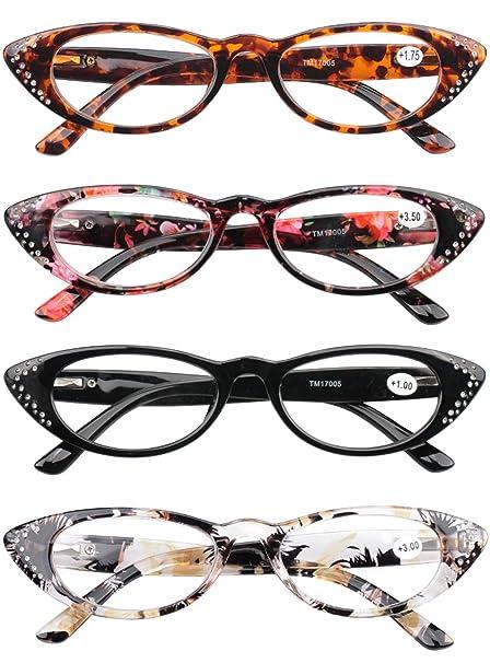 VEVESMUNDO Gafas de Lectura Mujer Hombre Ojo de Gato Flores Vintage Leer Graduadas Vista Presbicia Lejos Falsas Diamantes 1.0 1.5 2.0 2.5 3.0 3.5 4.0