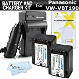 2 Pack Battery And Charger Kit For Panasonic HC-V770K, HC-WXF991K, HC-W580K, HC-VX981K, HC-V180K, HC-V380K, HC-VX870K, HC-W570K Camcorder Includes 2 Replacement VW-VBT190 Batteries + Ac/Dc Charger ++