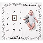 Organic Baby Monthly Milestone Blanket (Forever Loved) for Newborn Boy or Girl | 1 to 12 Months | Soft Photography Background Prop | Baby Shower Gift