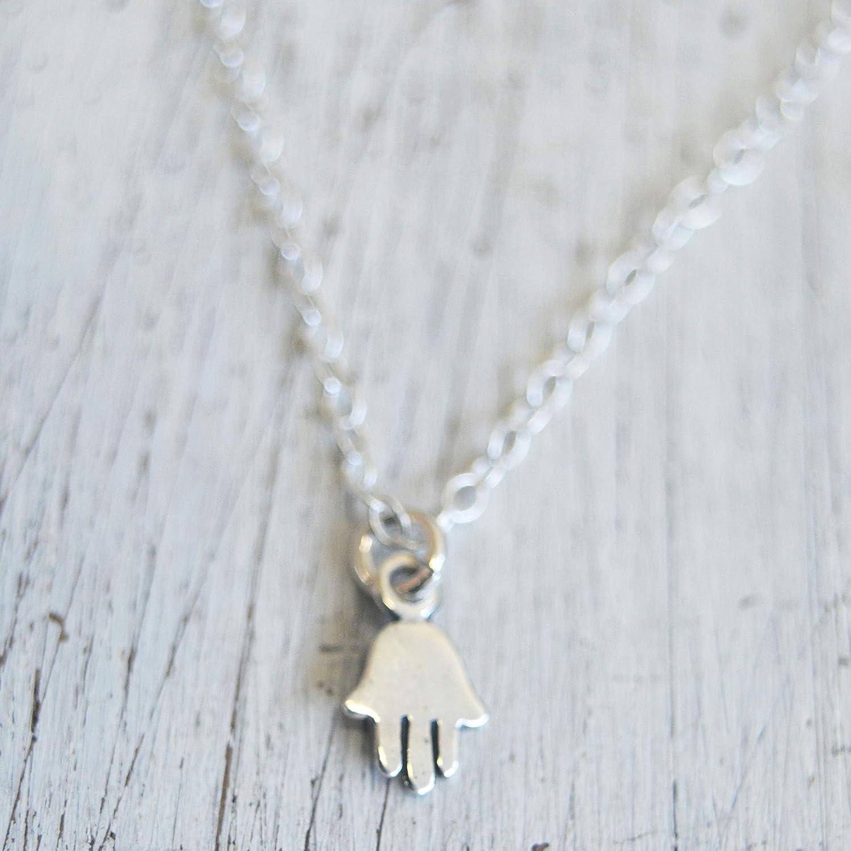 Sterling Silver Hamsa Hand Pendant Charm Necklace Hand Of Fatima Gift Box