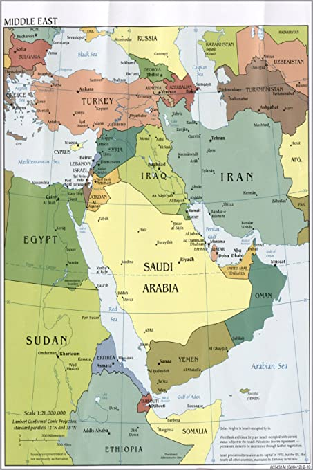 Amazon.com: 24x36 Poster; Cia Map Of Middle East Iraq Iran Israel ...