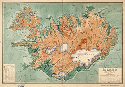 Amazon Com Map Poster Iceland Physical Political 24 X17