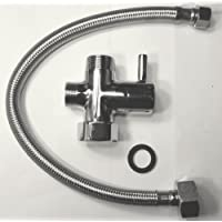 "Chromed Brass 3-Way T Adapter with ON/OFF. INCLUDES a 14"" Steel braided toilet supply hose (7/8 X 3/8). The T MUST be used with this hose. T NOT NEEDED FOR OUR GenieBidet's they are already provided."