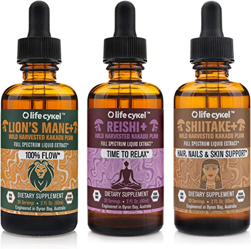 Life Cykel REM Sleep, Relaxation, and Skin Health Bundle – Lions Mane, Reishi, and Shitake Mushrooms with Australian Wild Harvested Kakadu Plum Liquid Extract – 2 fl oz Each Set of 3