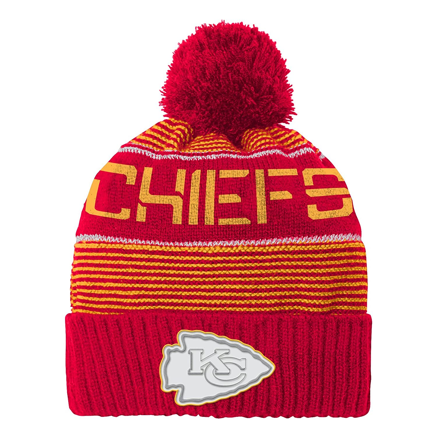 d1dbb816556 ... new era red 2018 nfl sideline cold weather historic sport knit hat  78e84 dcc45  shop outerstuff nfl youth boys magna reflective cuffed knit hat  with pom ...