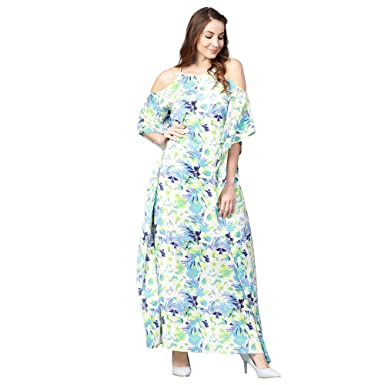 894960d3248 Athena White Floral Printed Maxi Kaftan Dress with Tie Up Neck for Women  (Size