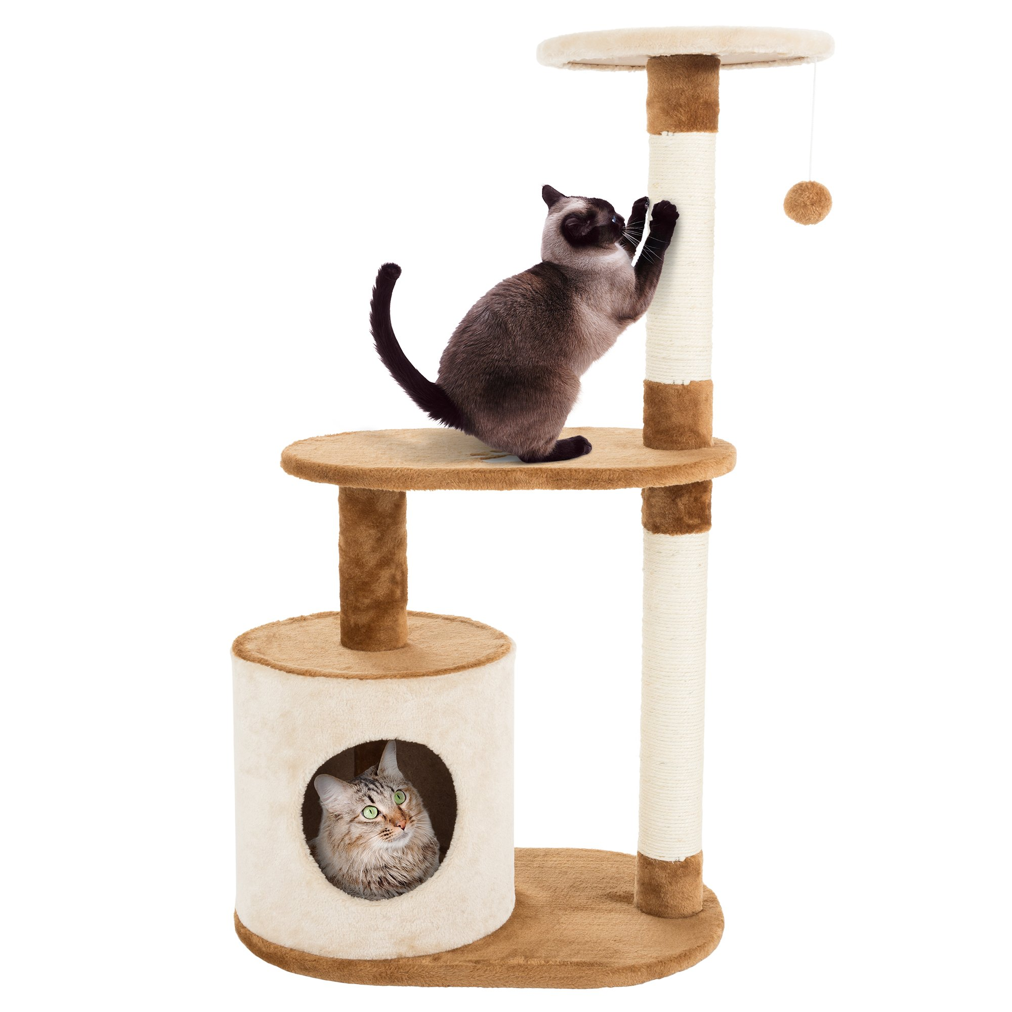 PETMAKER Cat Tree Condo 3 Tier with Condo and Scratching Posts, 37.5'', Brown and Tan