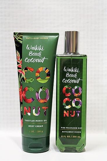 Bath Body Works Signature Collection Waikiki Beach Coconut Fine Fragrance Mist 8 Fl Oz Body Cream 8 Oz Gift Set