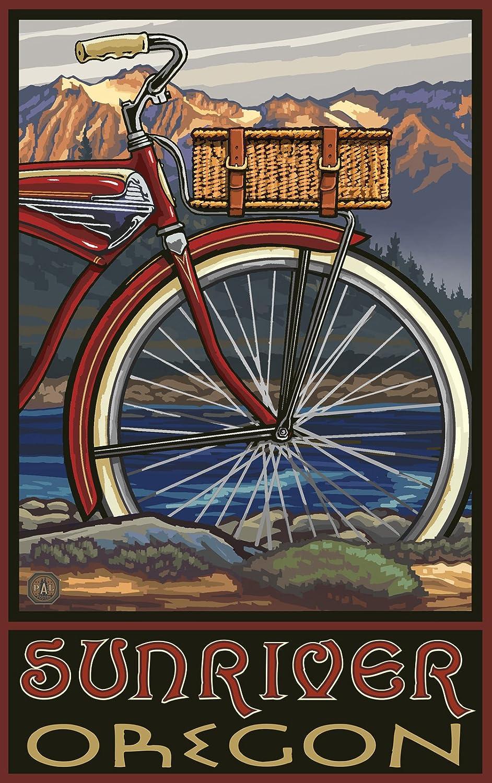 Northwest Art Mall Sunriver Oregon Fat Tire Bike Poster 11-Inch by 17-Inch PAL-847