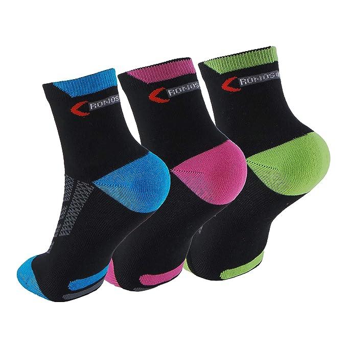 Calcetines (3 Pares) de RUNNING, CICLISMO, TENIS, PADEL, ... Calcetines de mujer SIN COSTURAS con puntera y talón reforzados. Calcetines tobilleros de ...