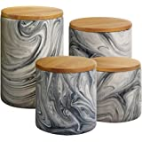 Elle 1562504CANRB Marble 4 Piece Canister Set, Gray