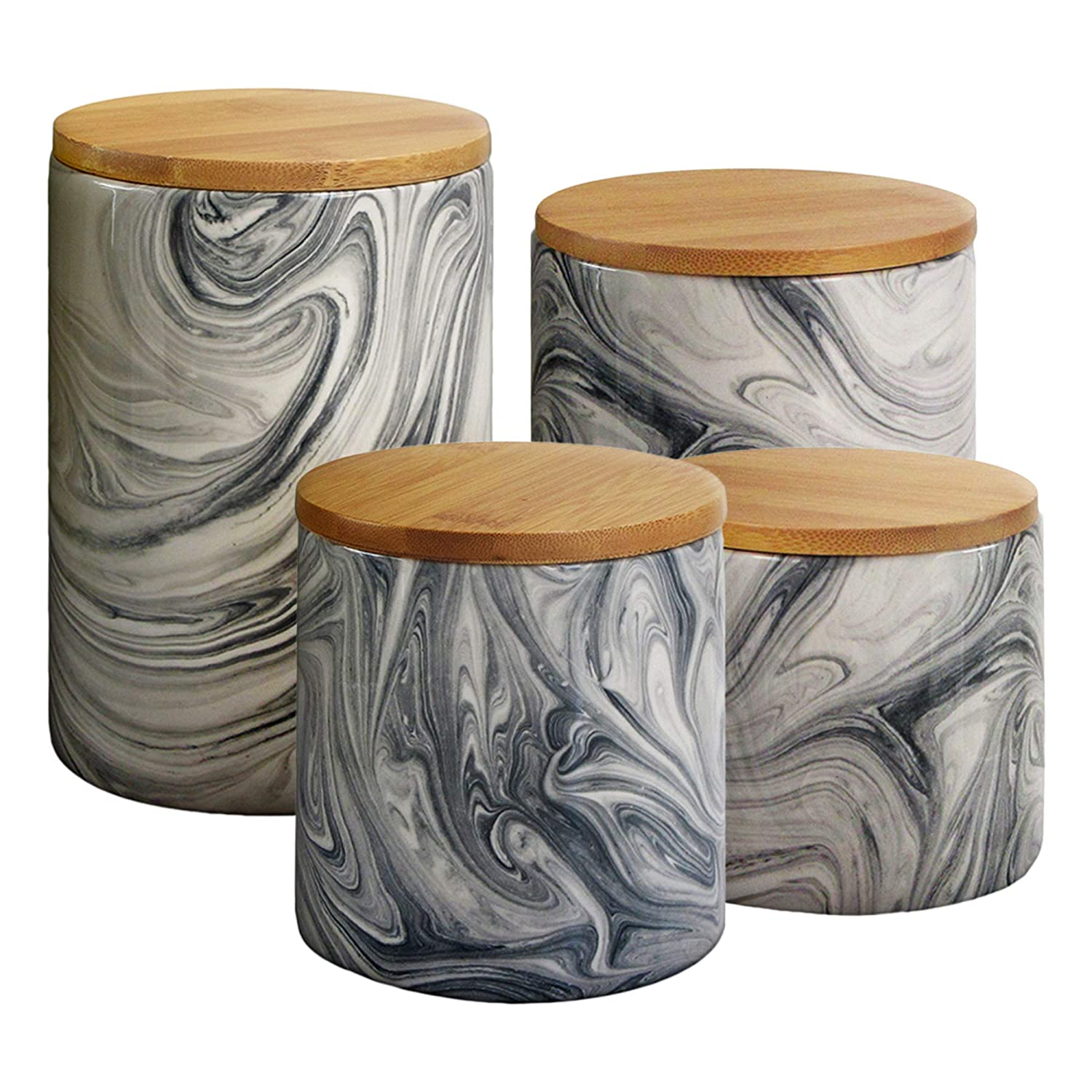Elle 1562504CANRB Marble 4 Piece Canister Set, Gray Elle Decor