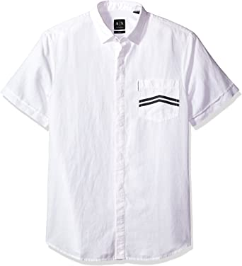 A X Armani Exchange Hombre 3YZC17ZNX2Z Manga corta Camisa con botones - Blanco - Large: Amazon.es: Ropa y accesorios