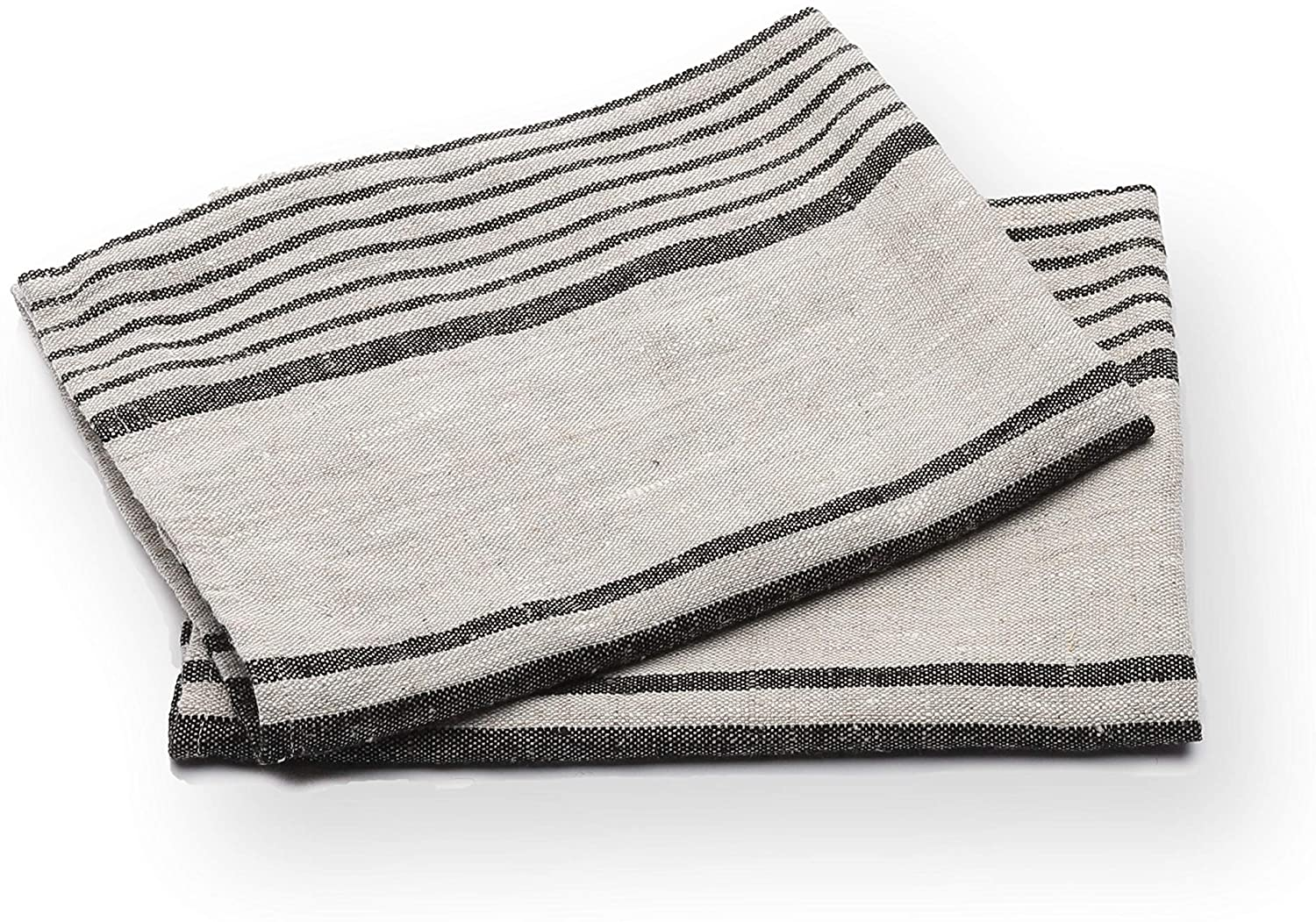 Amazon Com Linenme Set Of 2 Provence Linen Hand Towels Standard Black Natural Striped Prewashed 100 Linen Made In Europe Produced From European Linen Home Kitchen