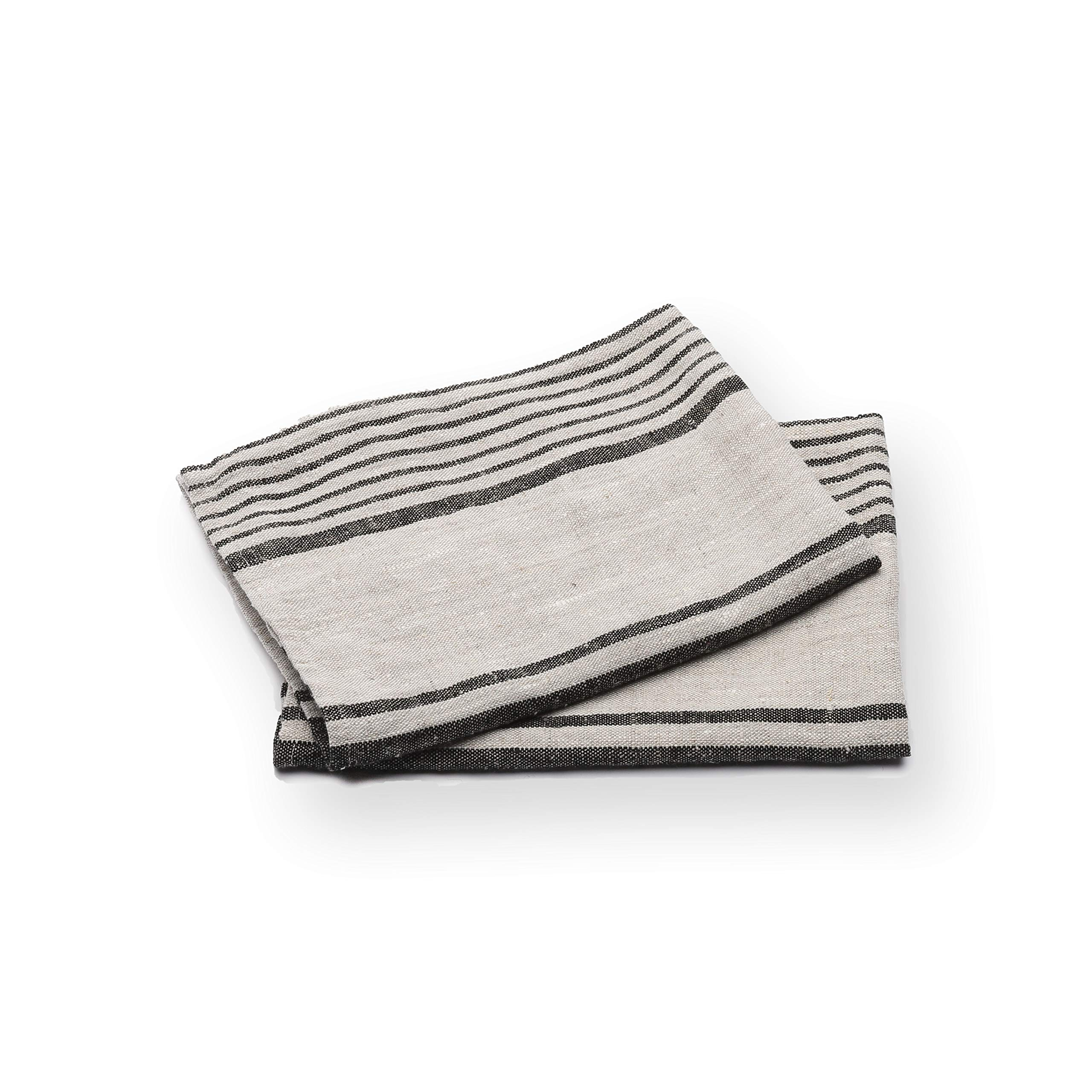 LinenMe Set of 2 Provence Linen Hand Towels, Standard, Black Natural Striped, Prewashed 100% Linen, Made in Europe, Produced from European Linen.