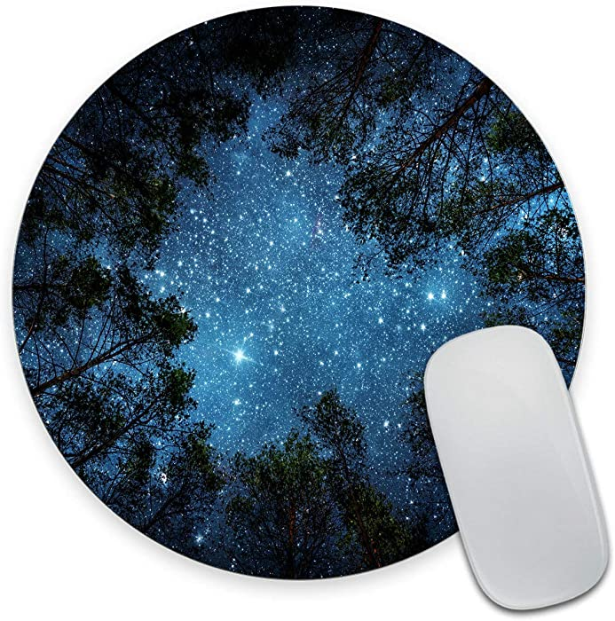 Smooffly Beautiful Night Sky Round Mouse Pad, The Milky Way and The Trees Mouse Pad,Sublime Forest Nature View Circular Non-Slip Rubber Mousepad Gaming Mouse Pad
