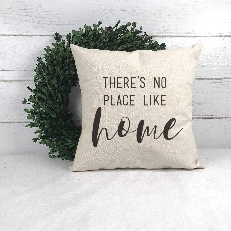 43LenaJon There's No Place Like Home Pillow Wedding Gift Pillow Farmhouse Throw Pillow Throw Pillows with Words Housewarming Gift
