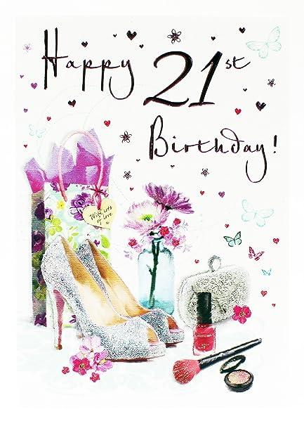 Tarjeta de felicitación de 21 cumpleaños para niñas con ...
