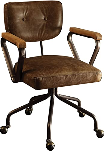 ACME Furniture Acme Hallie Top Grain Leather Office Chair in Vintage Whiskey