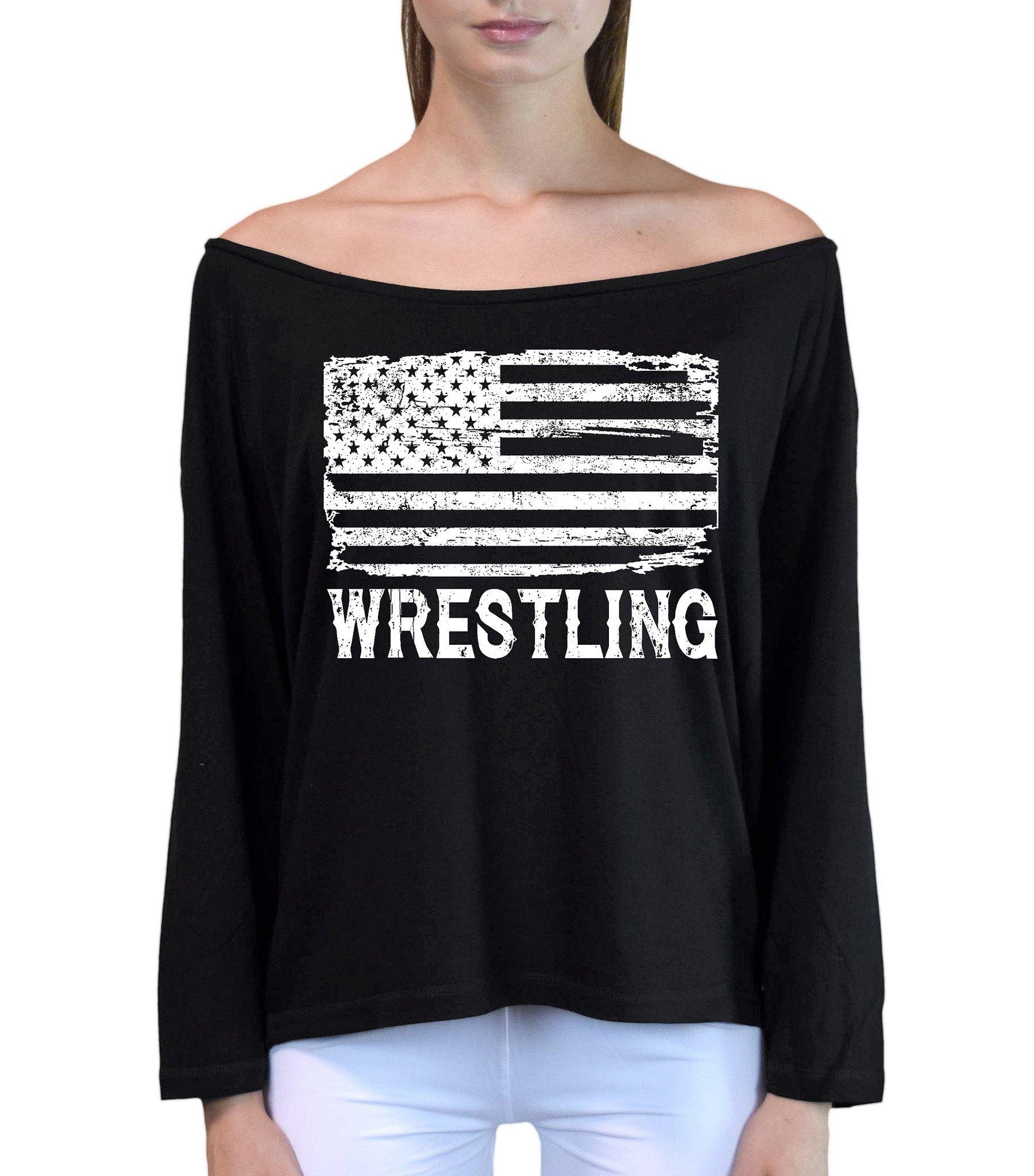 Interstate Apparel Inc Junior's Wrestling American Flag Black Off-Shoulder Long Sleeve T-Shirt S/M Black