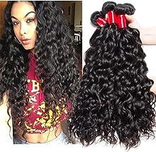 VIPbeauty Brazilian Hair Water Wave 3 Bundles Of 100% Unprocessed Human Hair 10A Weave Weft Natural Black (14 16 18)