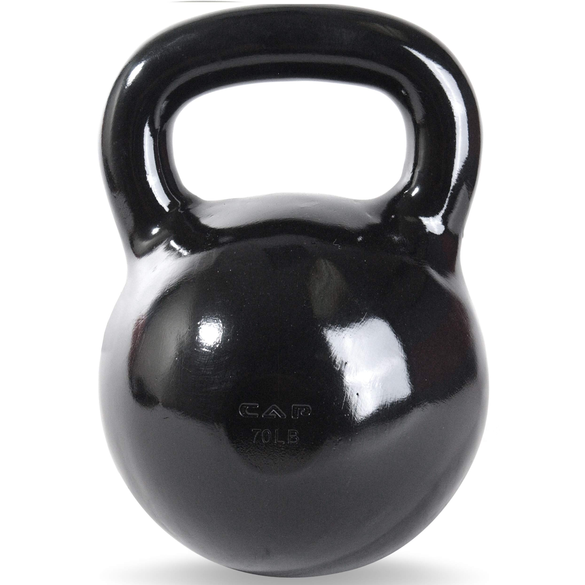 CAP Barbell Black Powder Coated Cast Iron Kettlebell, 70-Pound