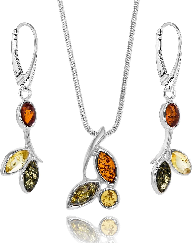 Copal Conjunto de joyas con Ámbar, plata de ley 925, colgante Naturaleza multicolor, con caja de joyas, idea regalo