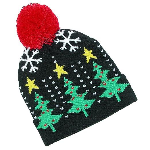 d88513bdbb6238 Amazon.com: CTM Women's Novelty Holiday Cuff Beanie Hat, Black: Clothing