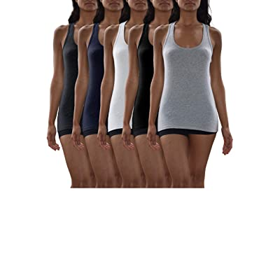 Sexy Basics Women's 5 Pack Active-Fitness Workout Sport Cotton Stretch Tank Tops at Women's Clothing store